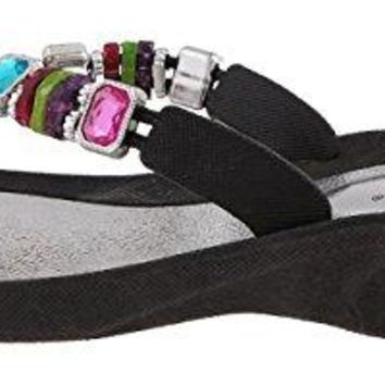 Capelli New York Molded Injected Thong With Rainbow Beads Trim Ladies Flip Flops