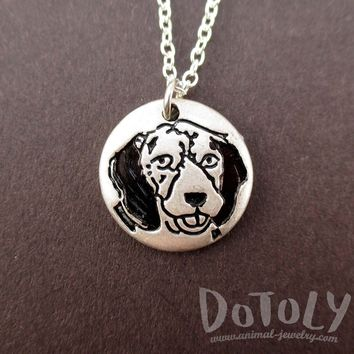 Round Engraved Beagle Dog Portrait Pendant Necklace in Silver | Animal Jewelry