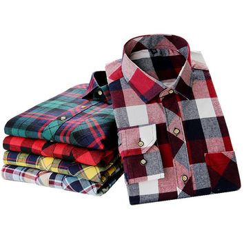 Men's Long Sleeve Brushed Flannel Shirt with Chest Pocket Slim-fit Cotton Midweight Casual Plaid Shirts camisa social masculina