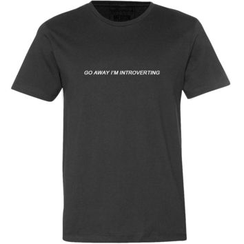 Go Away I'm Introverting Tee--Black