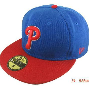 PEAPON Philadelphia Phillies New Era 59FIFTY MLB Hat Blue-Red