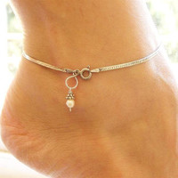 Sterling Silver Anklet with White Pearl
