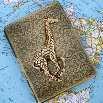 Metal Cigarette Case Gold Giraffe Gothic Victorian Steampunk Vintage Inspired Rustic Gold Brass Antiqued Finish Large Metal Card Holder