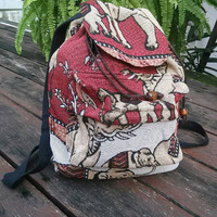 Backpack Aztec Ikat Tribal Elephant Printed Woven Boho Hippie Design Nepali Handwoven Patterns Handmade Bags For Beach School 14x13inch Red