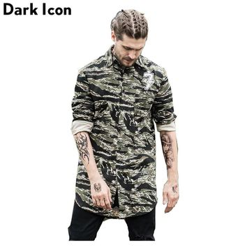 Number 7 Printed Camouflage Elongated Hipster Men's Shirt Long Sleeve  Summer Curved Hem Long line Hip Hop Shirts Men