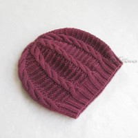 Orchid pink slouchy beanie, hand knit hat, gift for women teen