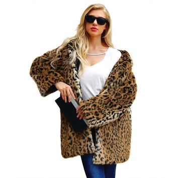 Leopard Printing Faux Fur Coats Ladies Winter Warm Long Parka Overcoat Streetwear Long Sleeve Casual Thick Coat Newest