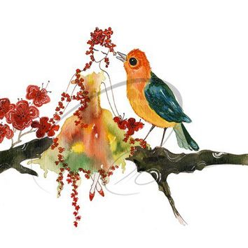 Sweet Song - Art Print girls cute nursery room gift ideas watercolor flower spirit fairy whispering bird oriole red robin Oladesign 8x10
