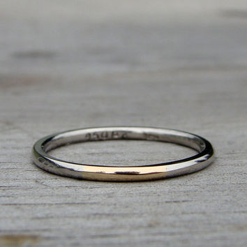 Skinny Two-Tone Band in Recycled 950 Palladium and 14k Yellow Gold - Stackable Wedding Ring, size 6.25