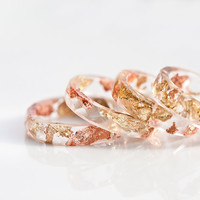 Resin Stacking Ring Yellow Pink Gold Flakes Small by daimblond