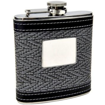Black & White Mesh Personalized Flask