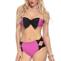 Hot Pink Polka Dot Bow Appetite Push Up Two Piece Swimsuit
