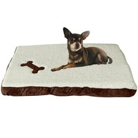 "Evelots Cushioned Pet Bed With Washable Fleece Cover,26.5""W  16""L  2.5""H Brown"