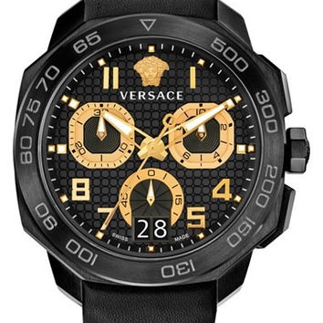 'Dylos' Chronograph Leather Strap Watch, 44mm