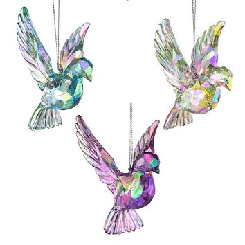 Acrylic Iridescent Doves Christmas Tree Ornaments, 4-3/4-Inch, 3-Piece