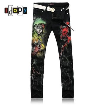 European Style Cool Skinny Jeans For Men Skull 3D Print Painted Punk Gothic Black Jeans
