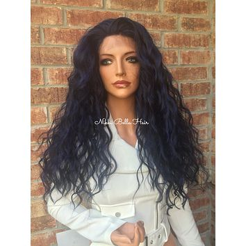 Blue Wavy Hair Swiss Lace Front Wig - Roane