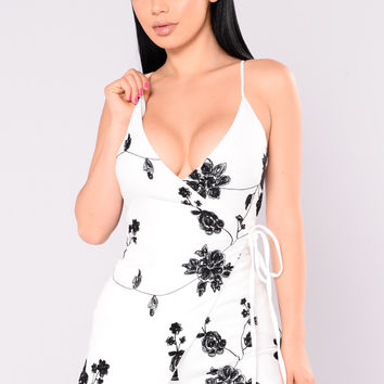 Forbidden Love Floral Romper - White