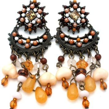 Joan Rivers Brown Chandelier Dangle Earrings