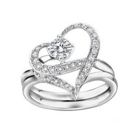 Couples Heart Shape with Cubic Zirconia Wedding Band Single-minded Love Separable Promise Ring (8.5) - save winkie Shop