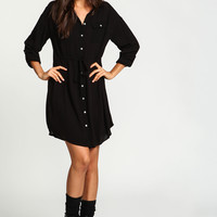 Black Drawstring Woven Shirt Dress