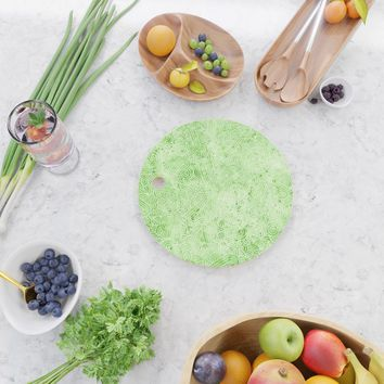 Greenery and white swirls doodles Cutting Board by savousepate