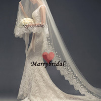 Pageant Handmade Long Lace Tulle Wedding veil, Long White Ivory Wedding veils,Cheap Custom made veils for wedding,Wedding Accessories,MB0053