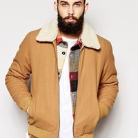 ASOS Wool Harrington Jacket With Fleece Collar