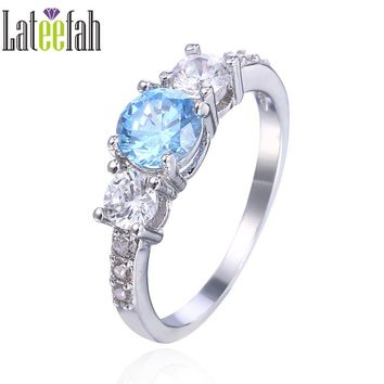 Lateefah Vintage Blue Wedding Rings for Women Created Aquamarine Three Stones Jewelry Female Engagement Ring Anel Femme Bague