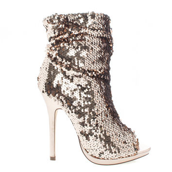 Maxim12 Gold by Liliana, Rose Gold Multi Color Sequins Peep Toe High Heel Above Ankle Bootie