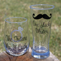 One Lucky Mr. and The Future Mrs. Stemless Wine Glass & Pilsner Glass - Customized - Mustache and engagement ring - Gift for the Bride Groom
