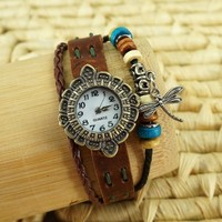 BADE Unisex Brown Leather Wrap Around Dragonfly Charm Bracelet Watch