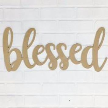 """Blessed"" - Wooden Wall Lettering Sign"