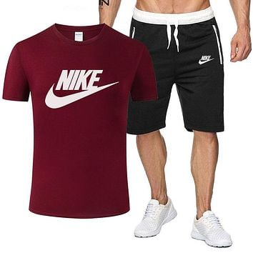 NIKE men and women fashion versatile sports suit two-piece red