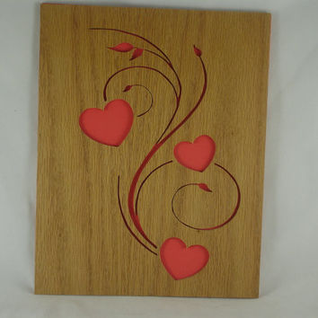 Hearts And Swirls Wood Wall Art Handmade From Oak Wood By KevsKrafts