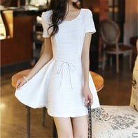 White Short Sleeve Dress with Bowknot Tie Waist 050822 D0624
