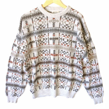 Tan Aztec Tribal Ugly Huxtable / Cosby Sweater