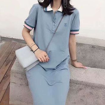 """""""TB""""Woman's Leisure  Fashion Letter  Embroidery Printing Lapel T-Shirt Skirt Tops"""