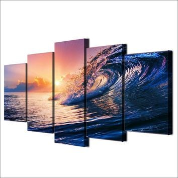 5 Pcs Rolling Ocean Wave Sunset blue sea Canvas Panel Wall Art Print Picture