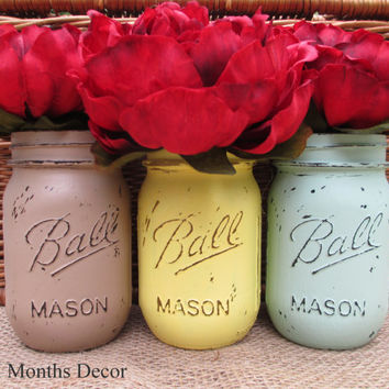 Set of 3 Painted Mason Jars, Pint Size, Brown Yellow Blue,  Distressed Home Wedding Decor, Rustic Shabby Chic Floral, Country Holiday