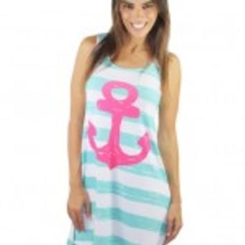 Mint And Pink Striped Anchor Dress