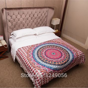Bohemian Pink Red Circle Tapestry High Quality Cotton Mandala Hanging Wall Tapestries 203x153cm Bedspread Bed Sheet Door Curtain