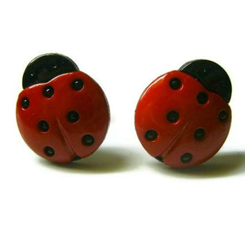 Ladybug Stud Earrings, Red and Black, Choose between Silver Toned or Surgical Steel Hypoallergenic Posts