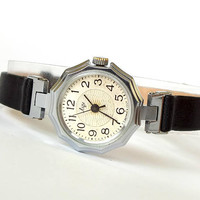 Womens Watch LUCH Ray. Vintage Silver Tone Womens Watch. Mechanical Ladies Wrist Watch. Soviet Watch For Women. Leather Strap. Gift For Her