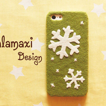 Handmade Snowflakes Phone Case Cover, Snowflake iPhone 6, iPhone 6 Plus Case, Felt Snowflake Case for iPhone 4/4S/5/5S/5C, Custom Phone Case