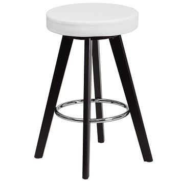 Trenton Series 24'' High Contemporary Vinyl Counter Height Stool with Cappuccino Wood Frame