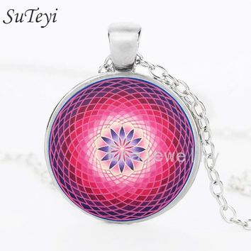 SUTEYI Vintage Mandala Flower of Life Necklace Glass Cabochon Handmade Pendant Kaleidoscope Buddhist Silver Long Chain Necklaces