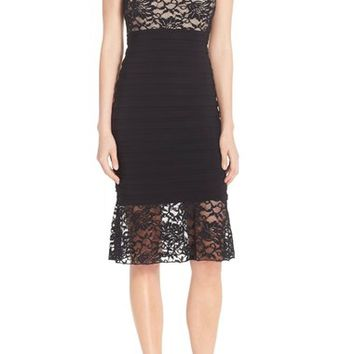 Xscape Lace & Pleat Jersey Sheath Dress | Nordstrom