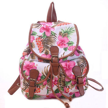 Women's Large Canvas Floral Print Daypack Backpack Travel Bag
