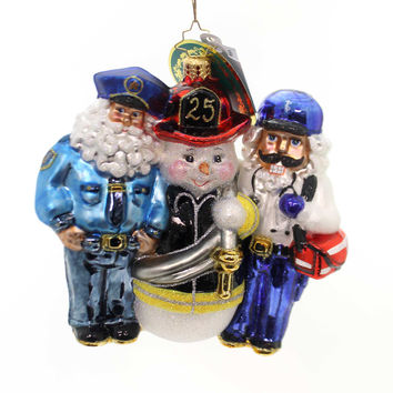 Christopher Radko Santa's First Responders Glass Ornament